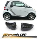 Smart Fortwo Cabrio Coupe 451 2007- LED dynamic bočni žmigavci crni