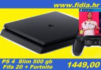 ⭐️⭐️ PS4 slim 500gb + FIFA 20 i FORTNITE - rabljeno !!! ⭐️⭐️