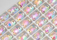 Swarovski kristali 10x14mm Oval Flatback Sew-on Crystal Clear AB