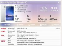 Xiaomi Redme Note 3 Mediatek 32Gb storage 3Gb RAM