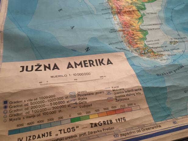 Amerika Gradovi Karta.Zidna Karta Skolska Karta Juzna Amerika Stara