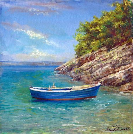 Umjetnička slika Barka, ulje na platnu, 20x20 cm.