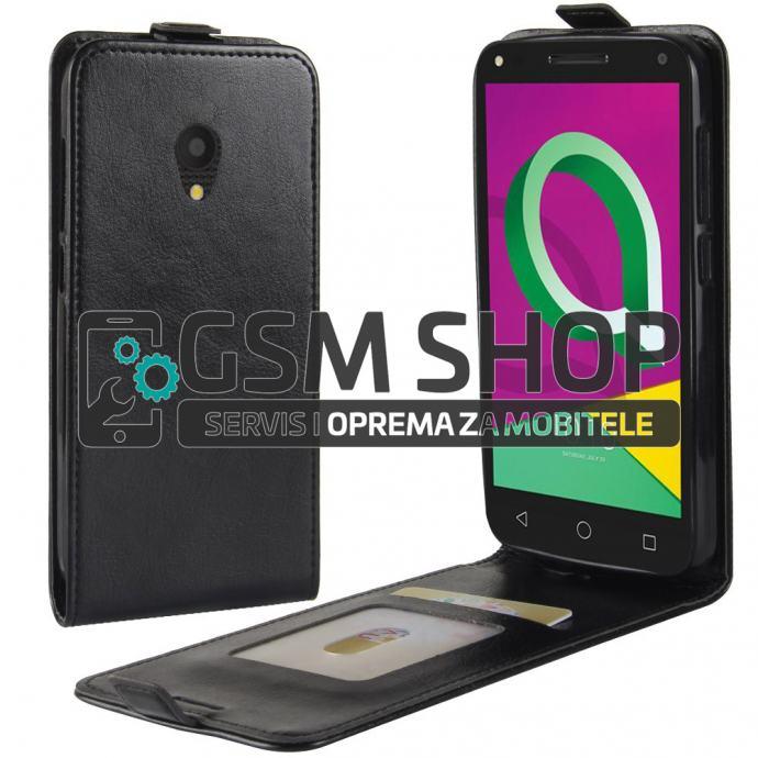 Kožna torbica Alcatel One Touch U5 3G flip crna