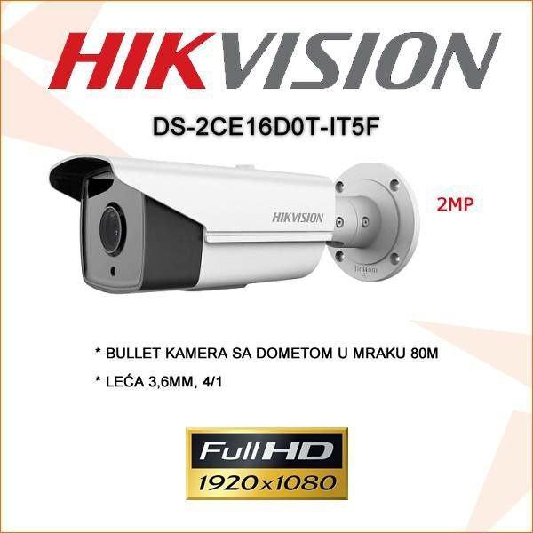 Vanjska kamera HIKVISION , 80M IR DOMET,  2MP, !! TOP AKCIJA !!