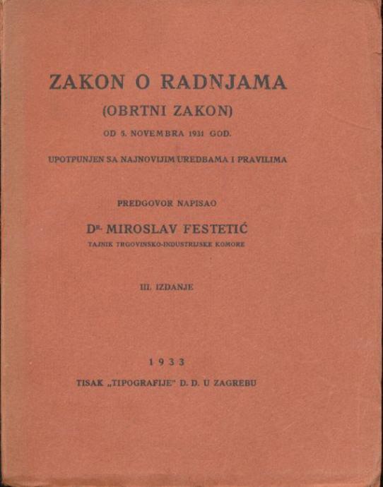 Zakon o radnjama (Obrtni zakon) 1933