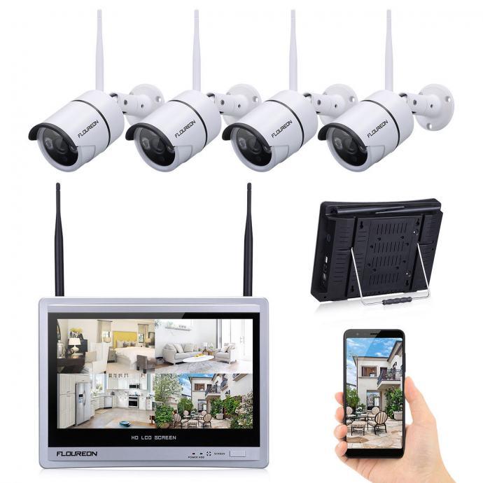 4 Wifi Bežične kamere + EKRAN za gledanje uživo