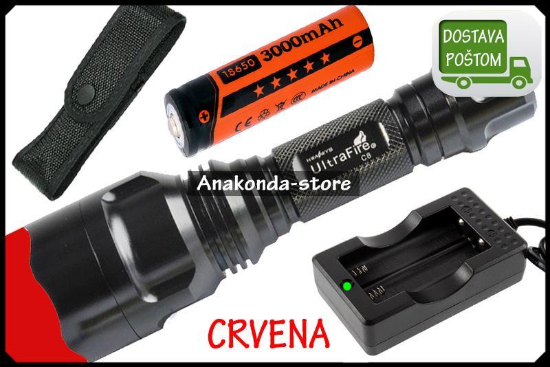 SET Punjač + Baterija + C8 Lovačka CRVENA Lampa za Lov Ribolov ★RAČUN★