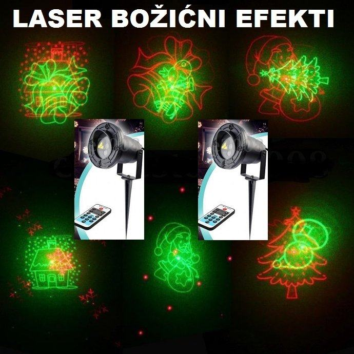 Laser BOŽIĆNI EFEKTI 8 SLIKOVNIH EXTRA efeka VODOTPORAN + daljinski