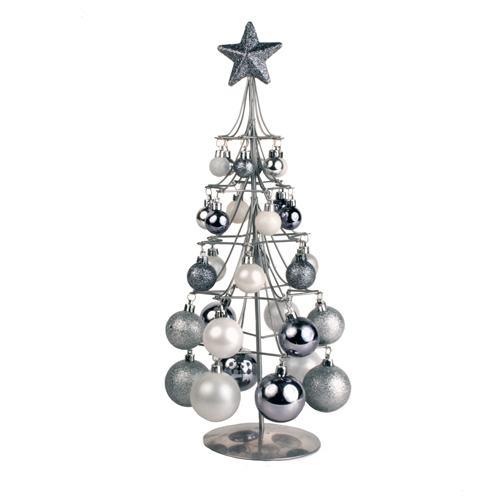 Srebrno Božićno Drvce s Kuglicama