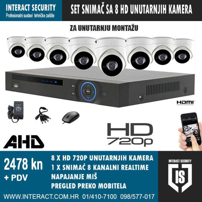 HD KOMPLET ZA VIDEO NADZOR SA 8 HD 720p KAMERA I KABLOVI 2478 kn + PDV