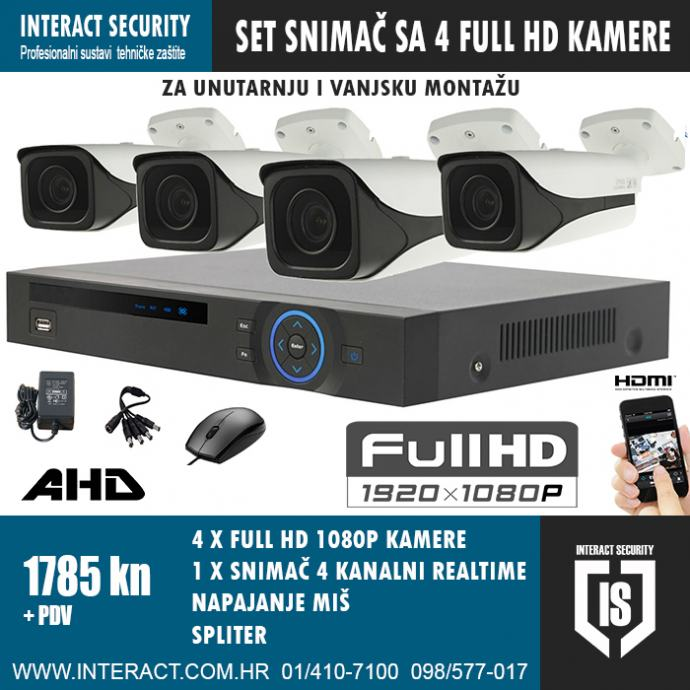 FULL HD VIDEO NADZOR KOMPLET SA 4 FULL HD 1080p KAMERE 1785 + PDV