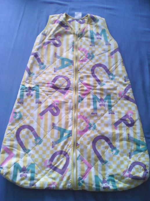 Vreća za spavanje Čateks, žuto-bijela, topla - 75 cm - uzorak slova