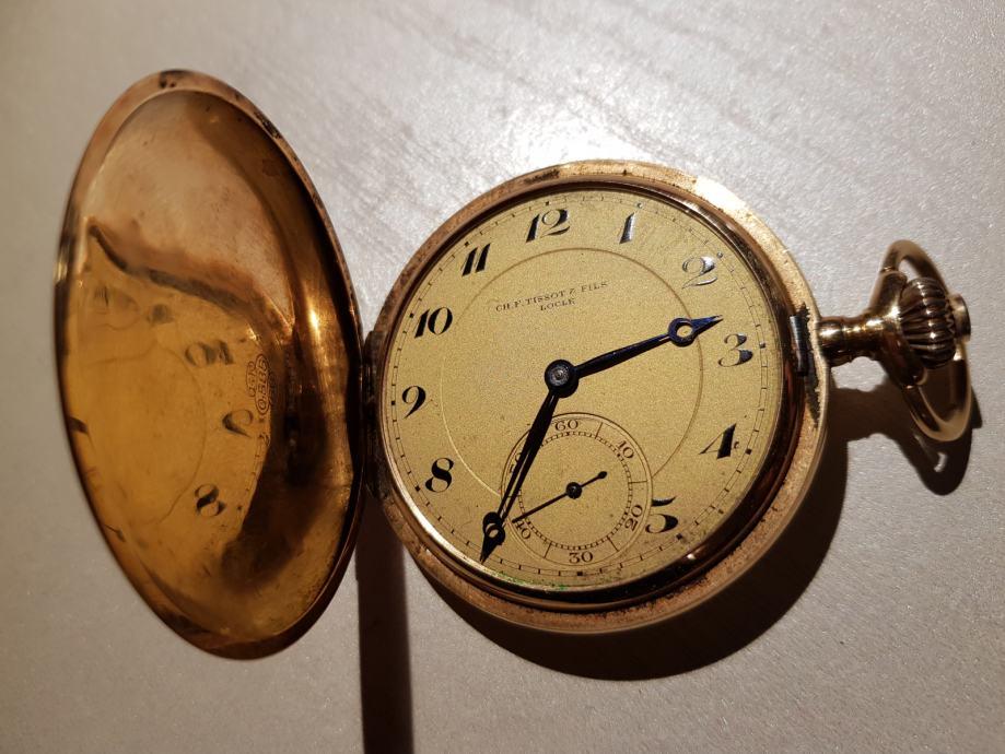 """Džepni sat """"CH.F. TISSOT@FILS"""" LOCLE zlatni, 14 karata"""