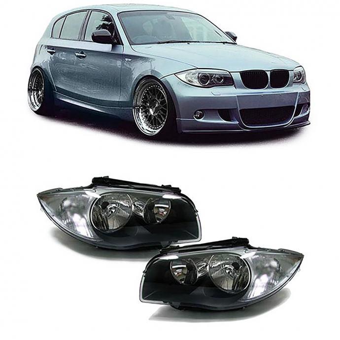 BMW E81 E82 E87 E88 2004- farovi svjetla lampe crni set H7 H7