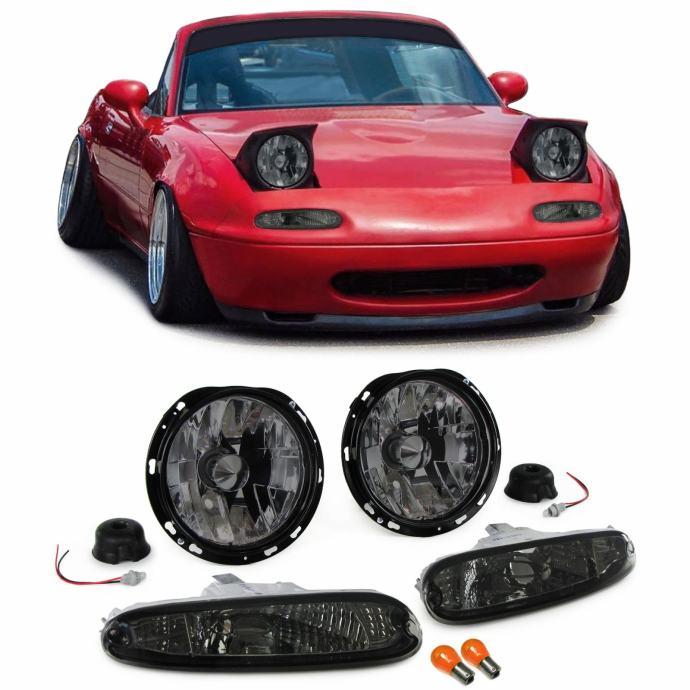 Mazda MX5 NA 1990-1998 farovi svjetla lampe desni + lijevi crni smoke