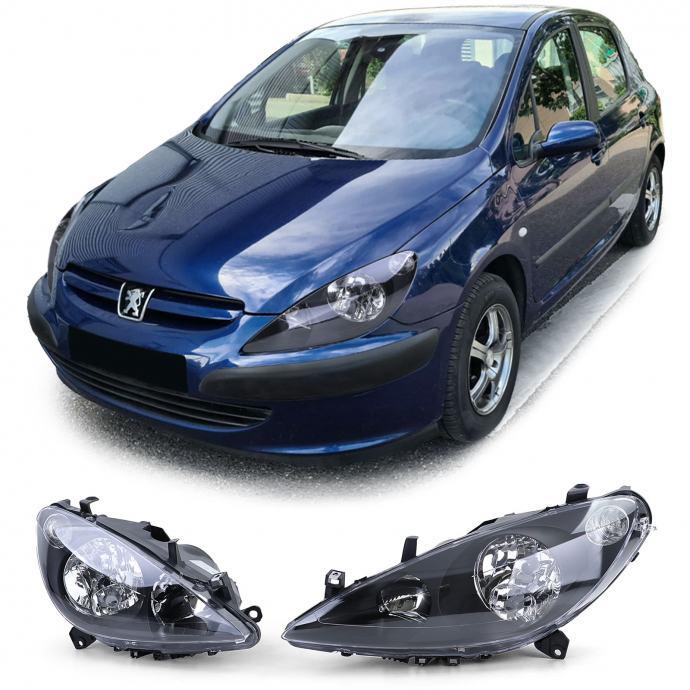 Peugeot 307 2001-2005 farovi svjetla lampe crni smoke desni + lijevi