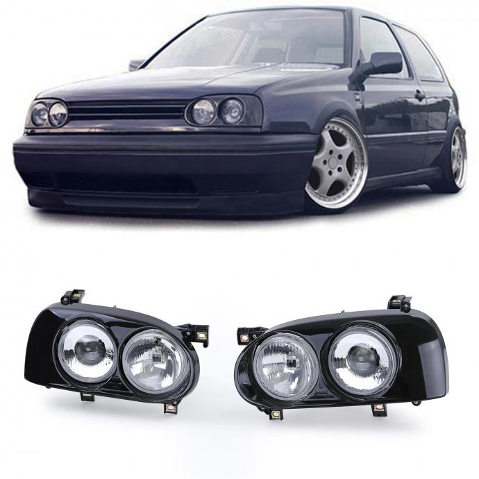 VW Golf III 3 1991-1997 farovi svjetla H1 H3 crni desni + lijevi set