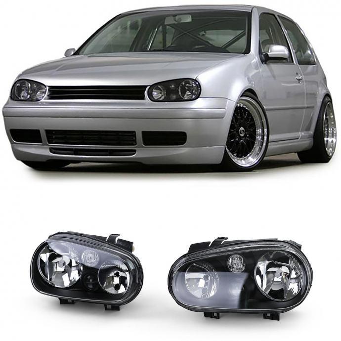 VW Golf IV 4 1997-2003 farovi svjetla crni H7 H1 H3 s maglenkama set