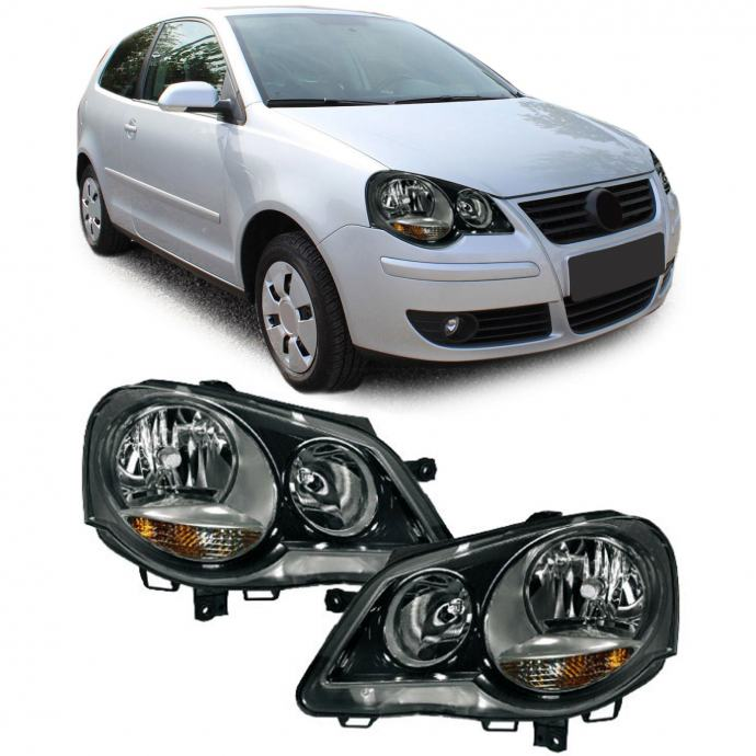 VW Polo 9N3 2005-2009 farovi svjetla lampe GTI Cup crni desni+lijevi