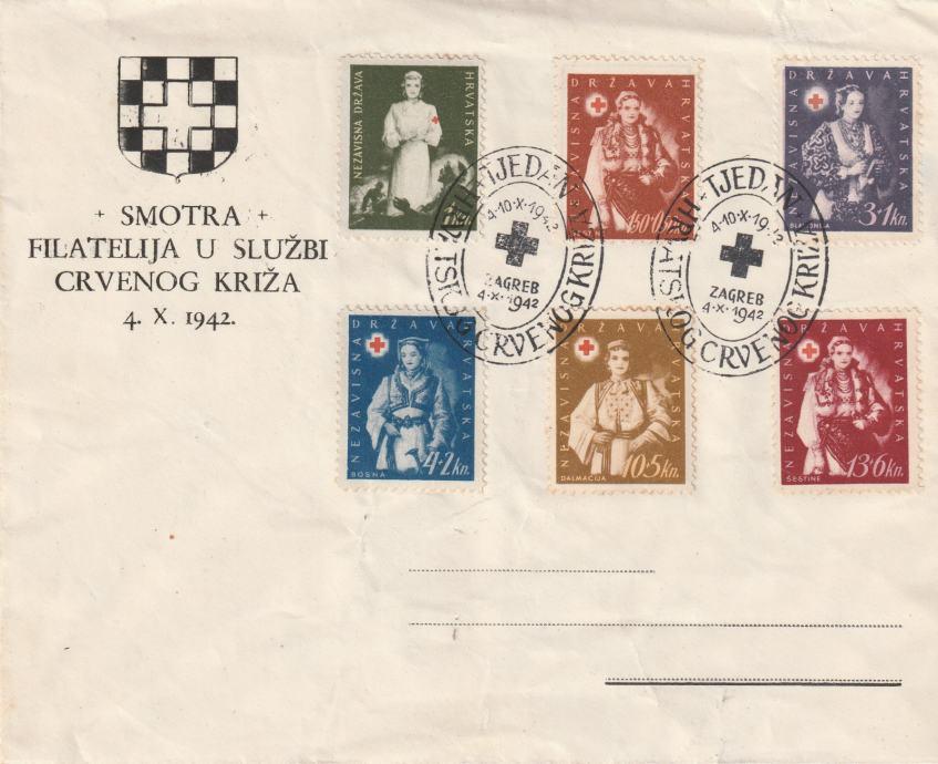 NDH FDC TJEDAN CRVENOG KRIŽA 1942