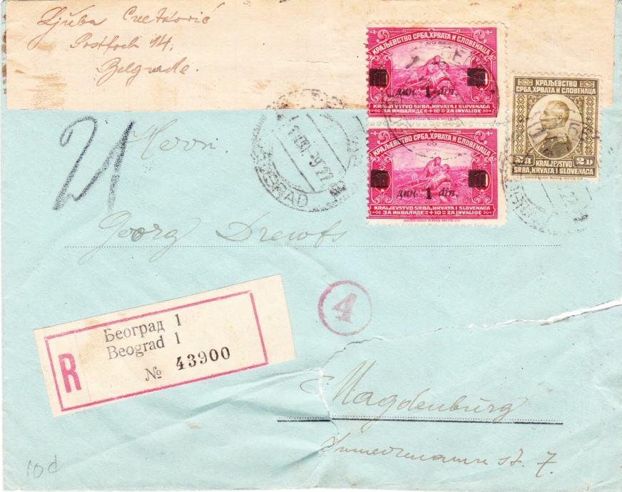 Pismo K.Jugoslavija putovalo iz Beograda u Magderburg 1922