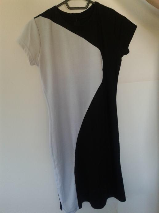 crno bijela haljina kratkih rukava