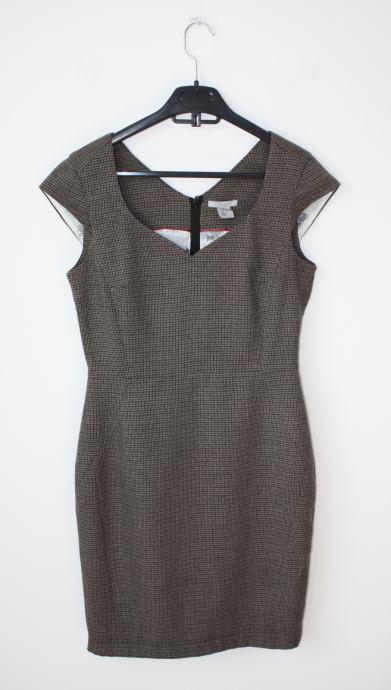 H&M haljina crno sivo smeđe boje sa uzorkom - vel. 38