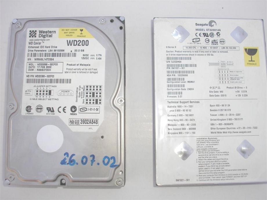 HDD 20GB IDE 5400 ata100 2MB i HDD 20GB IDE 7200 ata100 2MB