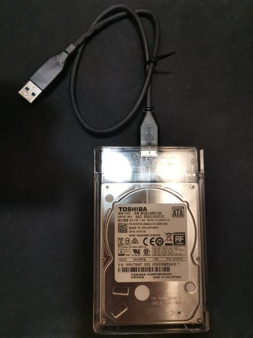 "HDD Toshiba 2.5"" 1TB USB 3.0 Prozirni eksterni disk | Novo | Račun R1"