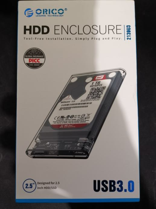 "HDD WD 2.5"" 1TB USB 3.0 Orico Prozirni eksterni disk | Novo | Račun R1"