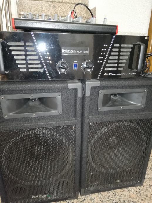 ZVUČNICI Ibiza 2x250 w, pojačalo Ibiza 300 , Shure beta mikrofon