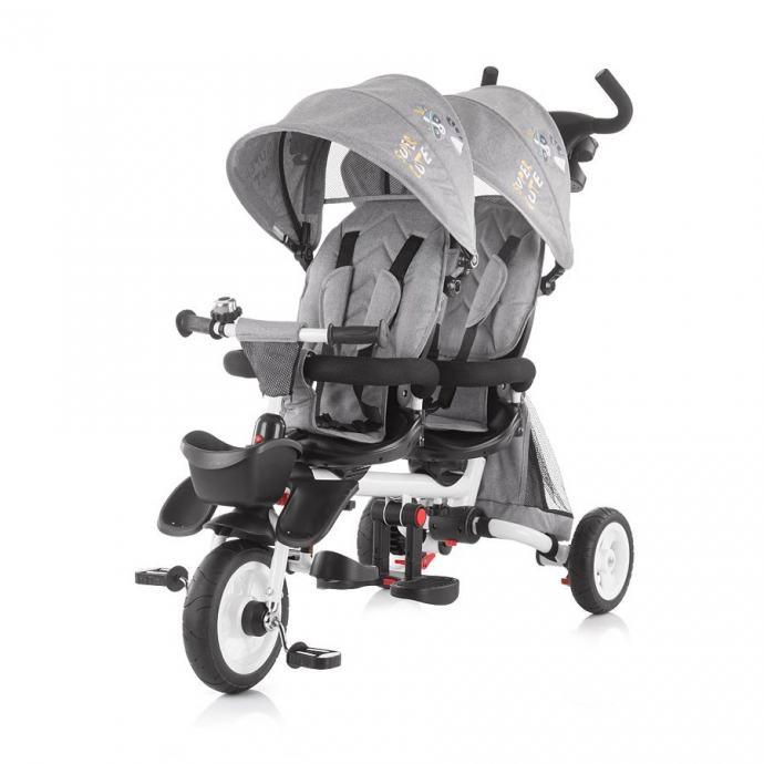 Tricikl za blizance Chipolino 2Fun Grey