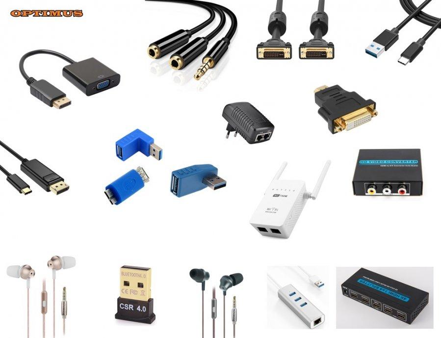 Optimus HDMI-VGA-DVI-USB-MREŽNI kabeli adapteri konverteri razdjelnici