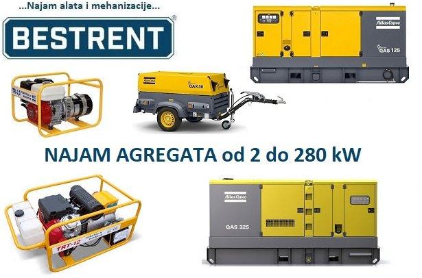 NAJAM (iznajmljivanje) agregata za struju od 2 do 280 kW