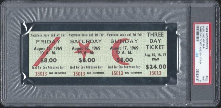 orginal WOODSTOCK  certificirana karta za FESTIVAL koncert iz 1969 g.