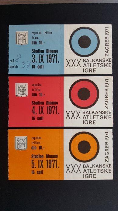 LOT 3 ulaznice za Balkanske igre 1971.g. / Zagreb