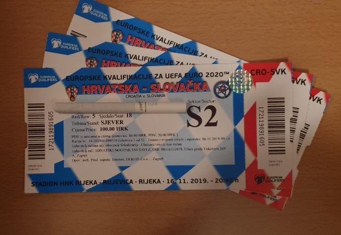 Tri Karte Hrvatska Slovačka 16112019 Stadion Rujevica