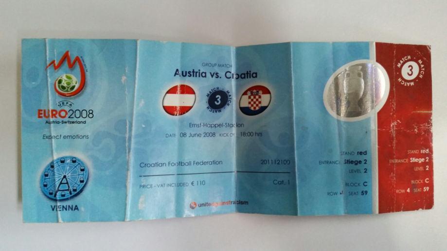 Ulaznica Hrvatska-Austria euro 2008