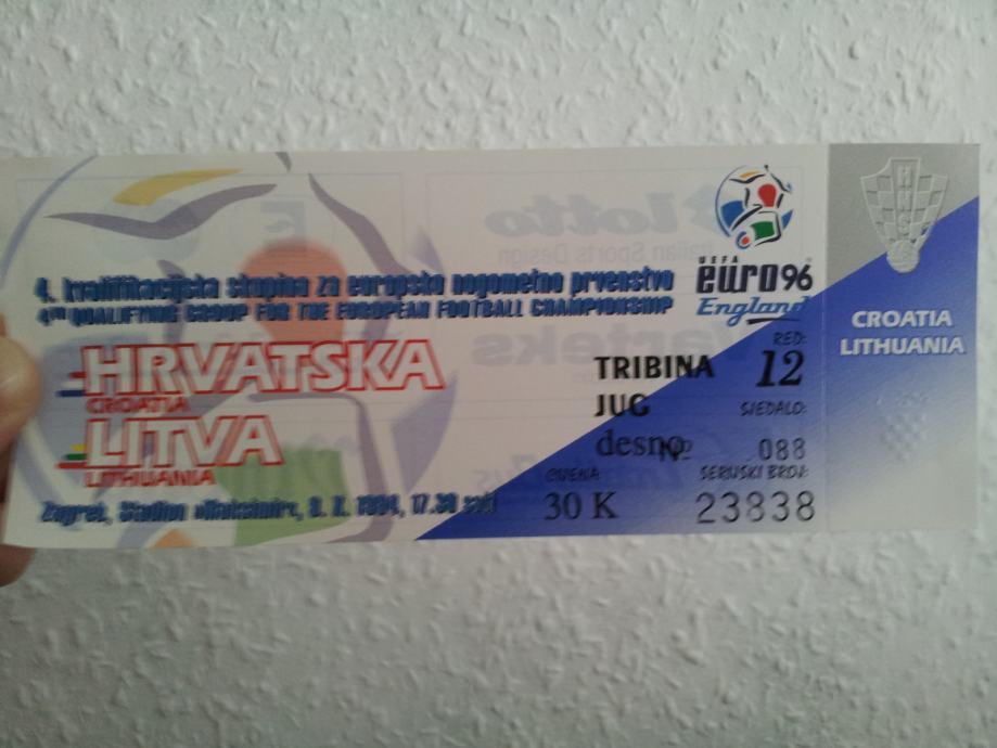 Ulaznica Hrvatska - Litva povijesna prva natjecateljska domaća tekma