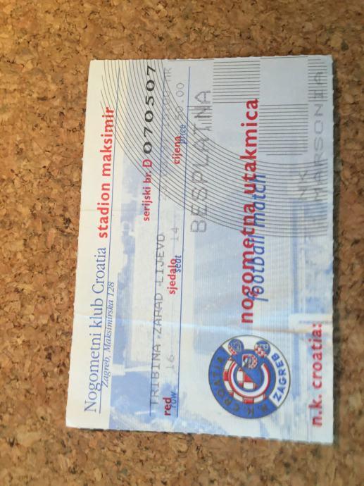 Ulaznica NK Croatia - NK Marsonia 1997.