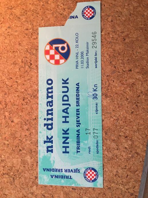 Ulaznica NK Dinamo - NK Hajduk 2000.