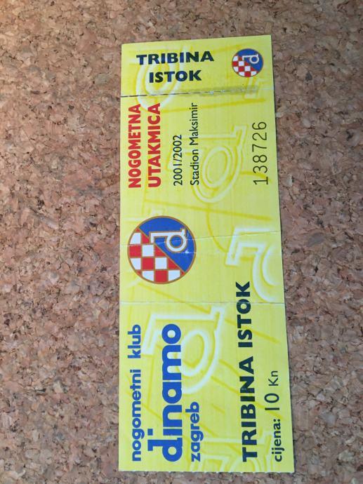 Ulaznica NK Dinamo - Tribina istok za sezonu 2001/2002
