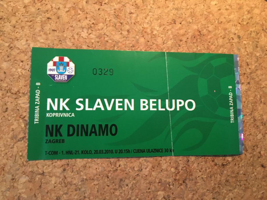 Ulaznica NK Slaven Belupo - NK Dinamo  2010.