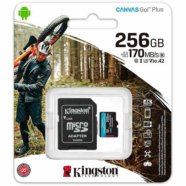 Kingston 256GB microSDXC Canvas Go Plus 170R A2 U3