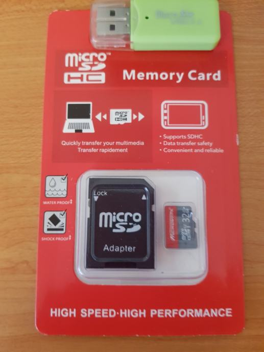 micro SD kartica 32g.+adapter+usb adapter (čitać kartica)