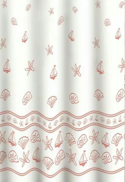 """Tuš zavjesa """"MSV"""" 180 x 200, 100% polyester bijela s uzorkom - NOVO"""