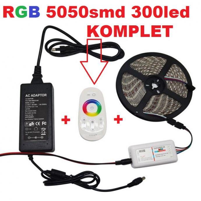 RGB LED traka 5m 5050smd +RF daljinski 18A na dodir+NAPAJANJE KOMPLET