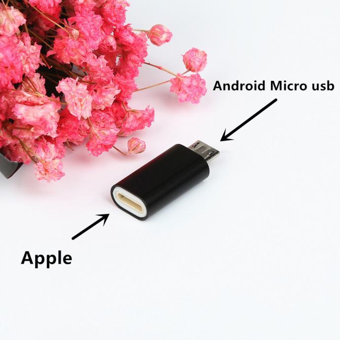 ADAPTER APPLE, iPhone 8 7 6 6S 5 5S 5C SE X ŽENSK NA MIKRO USB  MUŠKI