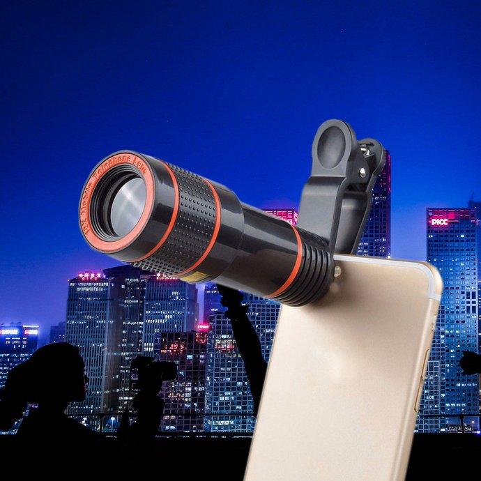 Teleskopske leće za kamere mobitela - crne boje-8x Zoom