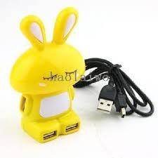 Rabbit Shaped USB 2.0 4 Port Hub for PC Laptop Notebook